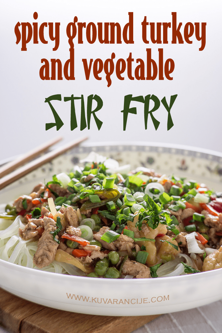 spicy ground turkey and vegetable stir fry